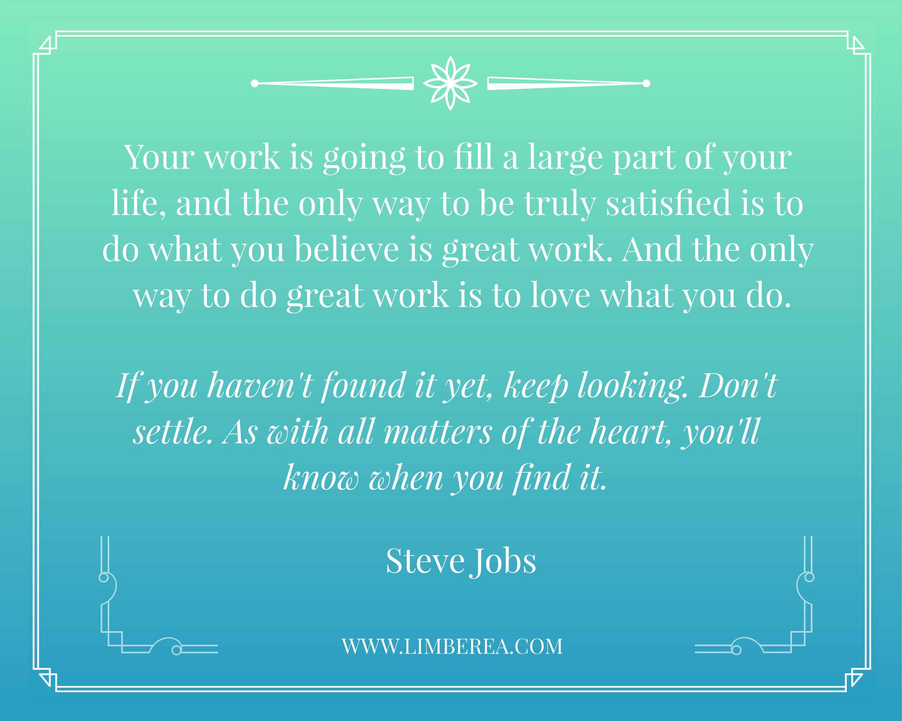 Steve Jobs quote on loving what you do